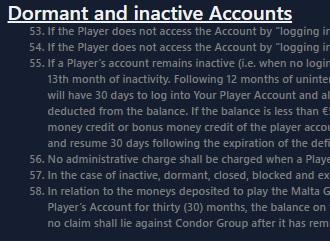Slapend Account Casino