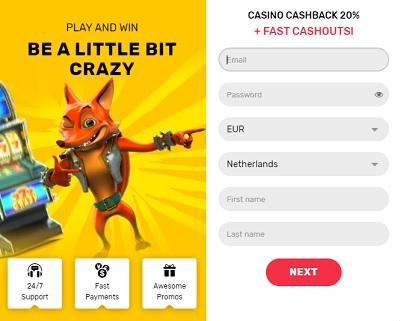 Crazy Fox Bonus 20% Cashback