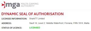 Vergunning Shark77 Limited